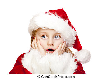 Small girl dressed as santa claus looks surprised Isolated...