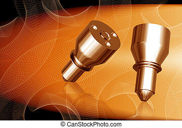 Fuel injection nuzzle - Digital illustration of fuel...