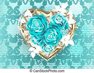 Jewelry heart with turquoise roses - Jeweled heart of white...