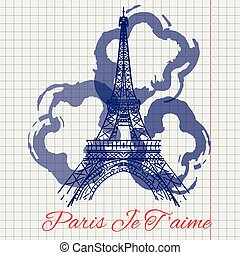 Eiffel tower and abstract flowers sketch - I love you Paris...