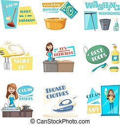 Vector icons for home housework cleaning washing - Housework...