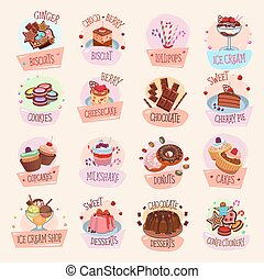 Vector icons bakery cakes confectionery desserts - Bakery...
