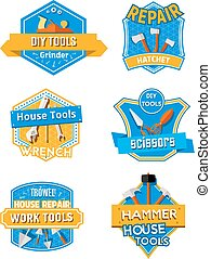 Home repair construction work tools vector icons - Work...