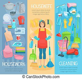 Vector banners for home housework cleaning washing -...