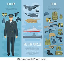 Vector banners military vehicles ammunition outfit -...