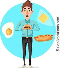 Man breakfast or fast food lunch vector flat icon