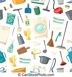 Vector seamless pattern of home cleaning washing - Housework...