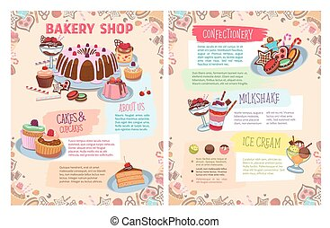 Vector poster of bakery sweet desserts and cakes - Bakery...
