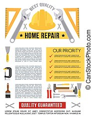 Vector poster template for home repair work tools - Home...