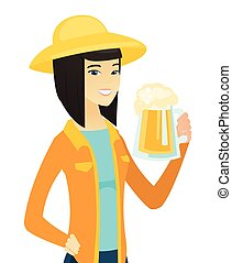 Young asian farmer drinking beer. - Cheerful asian farmer in...