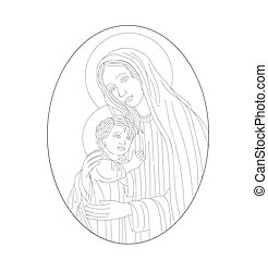The Icon a Mother of God (Mary) and child (Jesus Christ)
