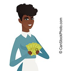 Young african-american cleaner holding money.