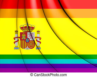 3D LGBT Flag of Spain. 3D Illustration.