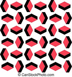 Seamless Rhombus Pattern. Vector Red and Black Background