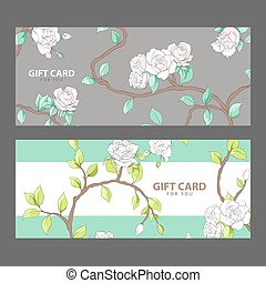 Gift card with blooming roses - Gift card with delicate...