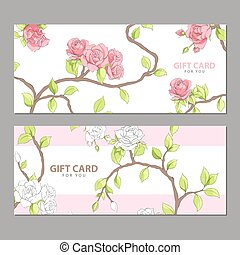Gift card in pink shades - Gift card with delicate flowers...