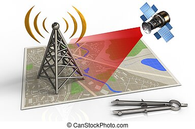 3d antenna - 3d illustration of map with antenna and...
