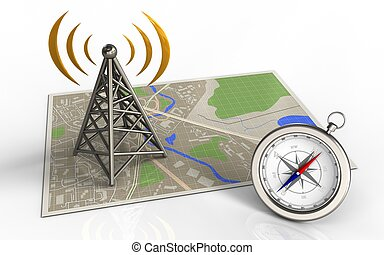3d antenna - 3d illustration of map with antenna and