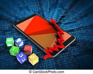 3d cubes - 3d illustration of mobile phone over digital...