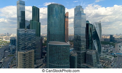 Aerial close up from a copter of city skyscrapers. - Aerial...