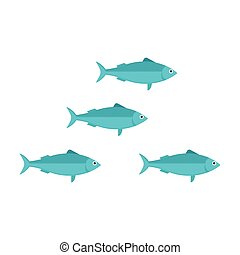 Sardines School Vector Illustration - Blue sardine run...
