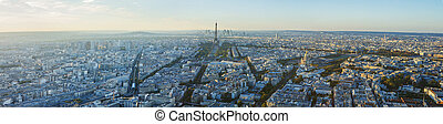Paris, Eiffel tower, at evening sunset blue hour. View from...