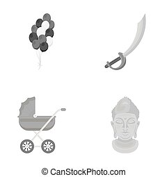 trade, business, entertainment and other web icon in monochrome style. gold, monument, idol, icons in set collection.