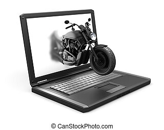 isolated laptop and the motorbike made in 3D