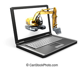 isolated laptop and the Construction vehicle made in 3D