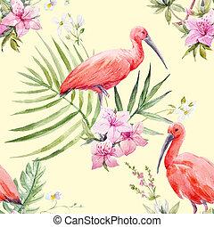 Watercolor tropical pattern - Beautiful seamless pattern...