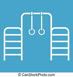 Horizontal bar with climbing rings and ladder icon white...