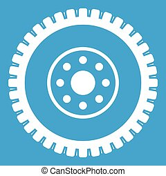 Gear wheel icon white isolated on blue background vector...