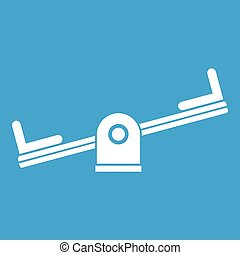 Seesaw icon white isolated on blue background vector...