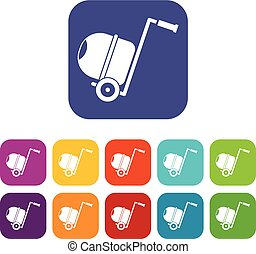 Concrete mixer icons set vector illustration in flat style...