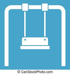 Swing icon white isolated on blue background vector...
