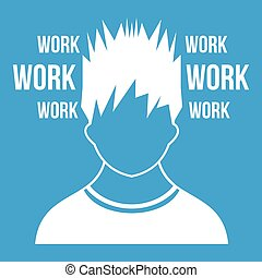 Man and work words icon white