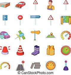 Motor vehicle icons set, cartoon style - Motor vehicle icons...