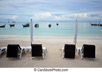 idyllisch, schirm, lipe, tropische , sand, strand., thailand, stuhl, sandstrand