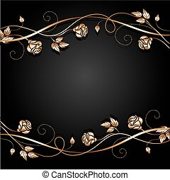 Copper flowers with shadow on dark background. Vector...