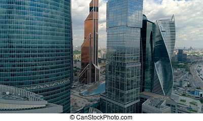 Drone footage of unique Moscow skyscrapers. - Drone footage...