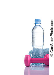 Fitnes symbols - Pink dumbbells, a bottle of water and a...
