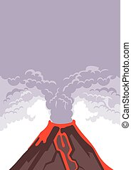 The eruption of the volcano, smoke and volcanic ash into the sky. Hot lava flows down the mountainside. Vector illustration.