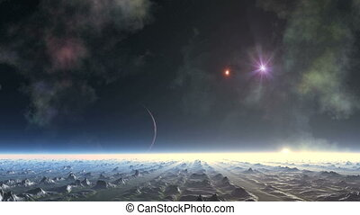 Alien Planet and Shooting Star (UFO)