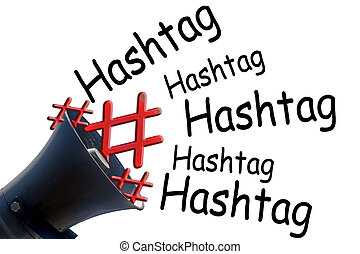 Megaphone with # Hashtag - Megaphone and symbol # hashtag #...