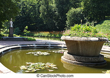 A flower bed near the lake in the Sofiyivsky Park. Botanical...