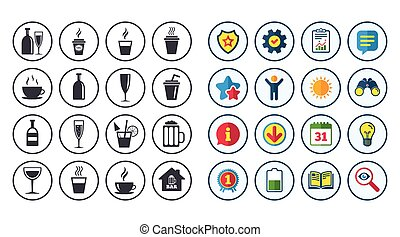 Set of Drinks, Beer and Cocktails icons. Coffee, Tea and...