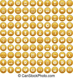 100 totalizator icons set gold - 100 totalizator icons set...