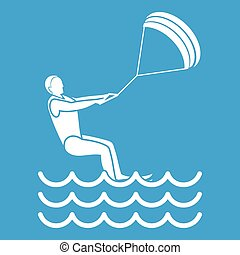 man takes part at kitesurfing icon white - Man takes part at...