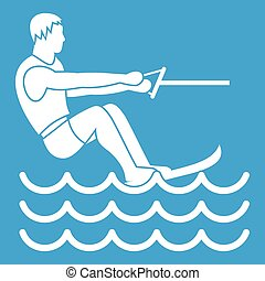 Water skiing man icon white isolated on blue background...