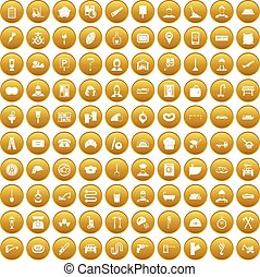 100 working professions icons set gold - 100 working...